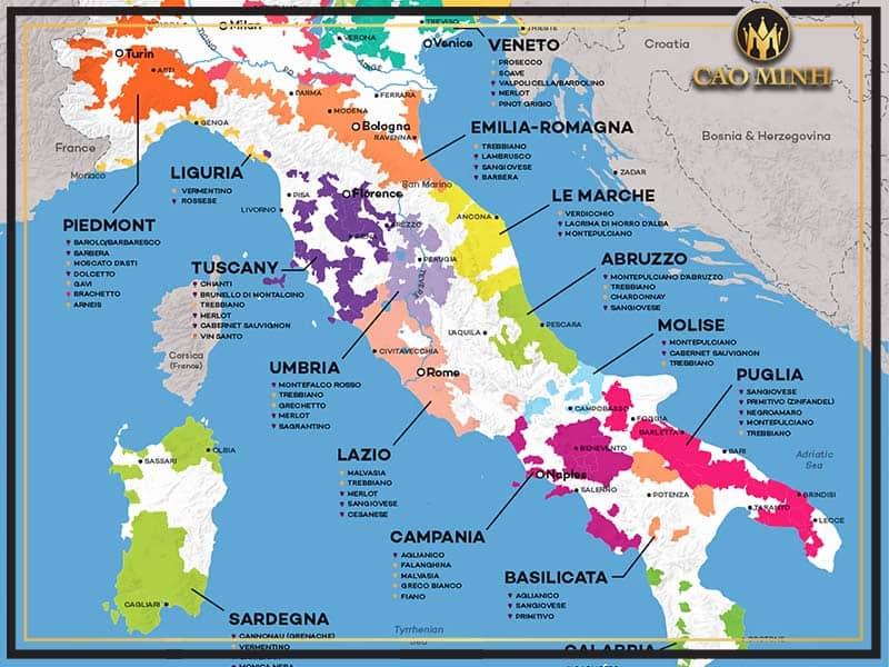 Khu vực sản xuất rượu vang Ý
