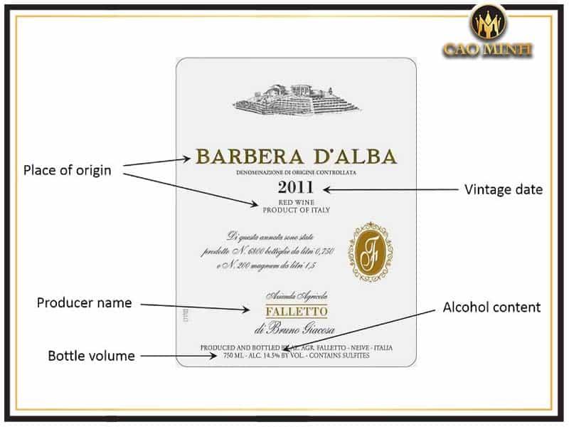Những thông tin cần chú ý trên nhãn chai rượu vang Ý