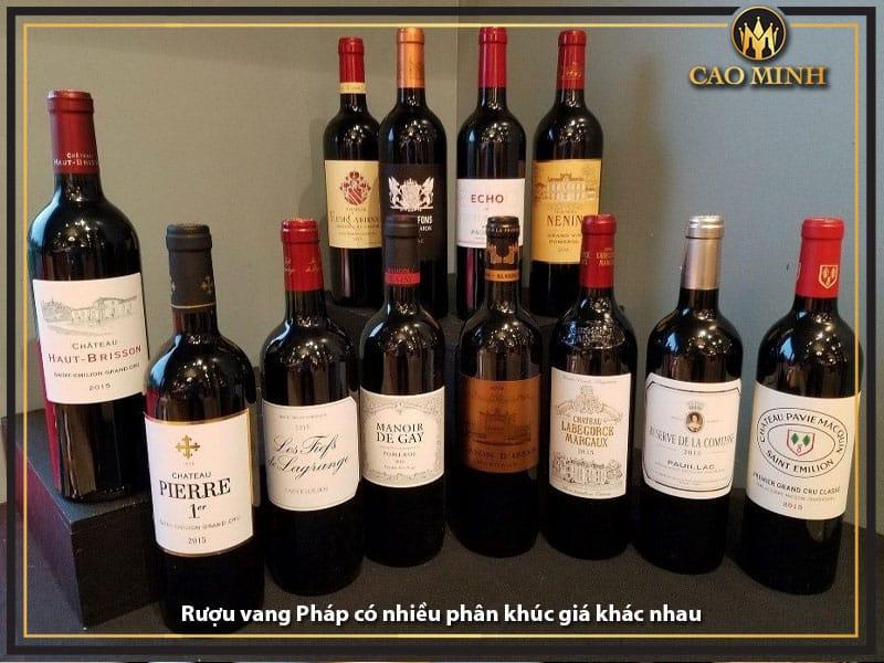 Rượu vang Pháp có nhiều phân khúc giá khác nhau