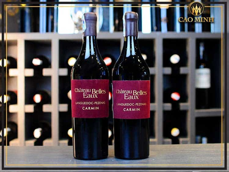 Rượu vang Pháp Carmin Chateau Belles Eaux Pezenas giá tầm trung, chỉ 1.480.000đ